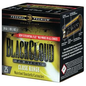 """Federal Black Cloud FS Steel Close Range 20 Gauge Ammunition 3"""" #2 1 Oz Steel Shot 1350 fps"""
