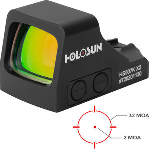 Holosun HS507K X2 Micro Red Dot Pistol Reflex Sight Red LED with MRS 32 MOA Reticle/2 MOA Dot Shake Awake Technology Aluminum Housing Black