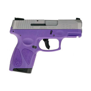 "Taurus G2S Slim 9mm Luger Semi Auto Pistol 3.2"" Barrel 7 Rounds 3 Dot Sights Matte Stainless Steel Slide/Dark Purple Frame"