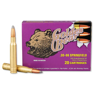 Golden Bear .30-06 Springfield Ammunition 20 Rounds SP 168 Grains AG30SP