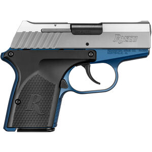 "Remington RM380 Semi Auto Pistol .380 ACP 2.9"" Barrel 6 Rounds Black Grip Panels Blue Frame with Stainless Slide Finish"