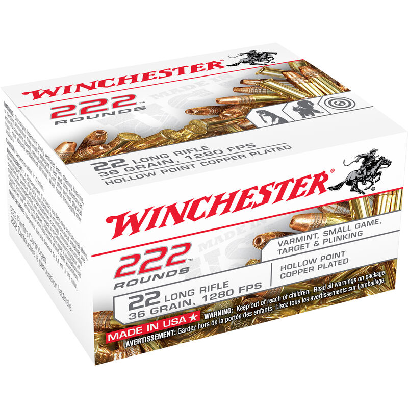 Winchester .22LR Ammunition 36 Grain Copper Plated Hollow Point 1280 fps