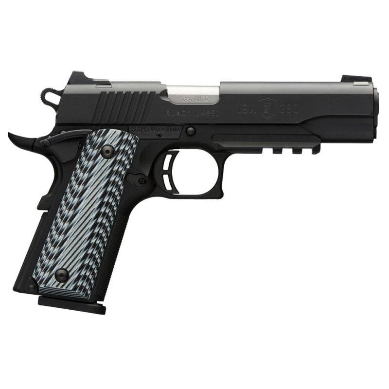 "Browning 1911-380 Black Label Pro Semi Auto Pistol .380 ACP 4.25"" Barrel 8 Rounds Composite Frame Accessory Rail Night Sights G10 Grips Matte Black 051907492"