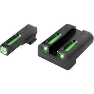 TRUGLO TFX Walther PPS Front and Rear Set Green TFO Night Sights White Ring Steel Black TG13WA2A