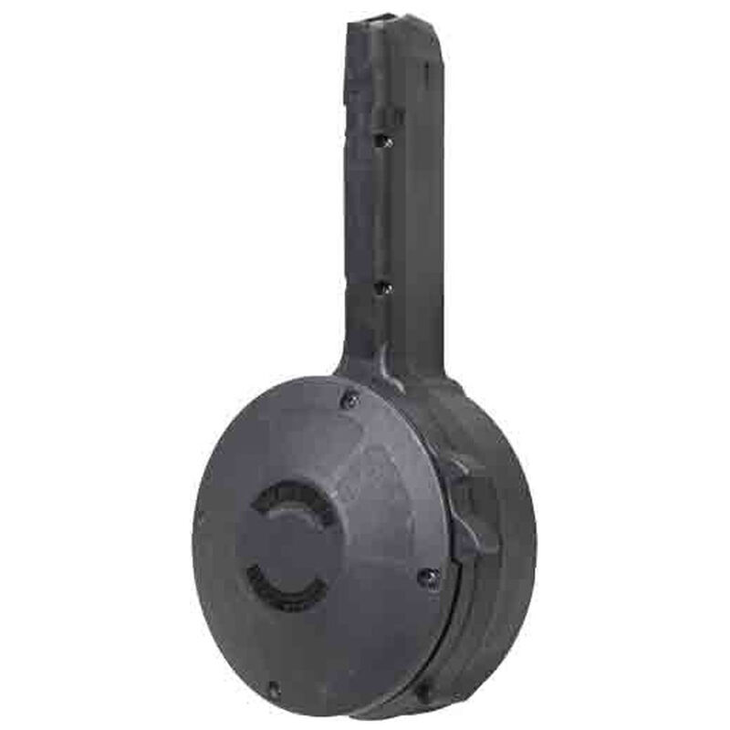 Iver Johnson 50 Round Drum Magazine Fits GLOCK 17/19/26/34 9mm Luger Double Stacked Models Polymer Construction Matte Black