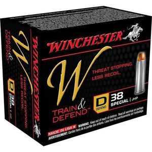 Winchester Train and Defend .38 Special Ammunition 20 Rounds, JHP, 130 Grains
