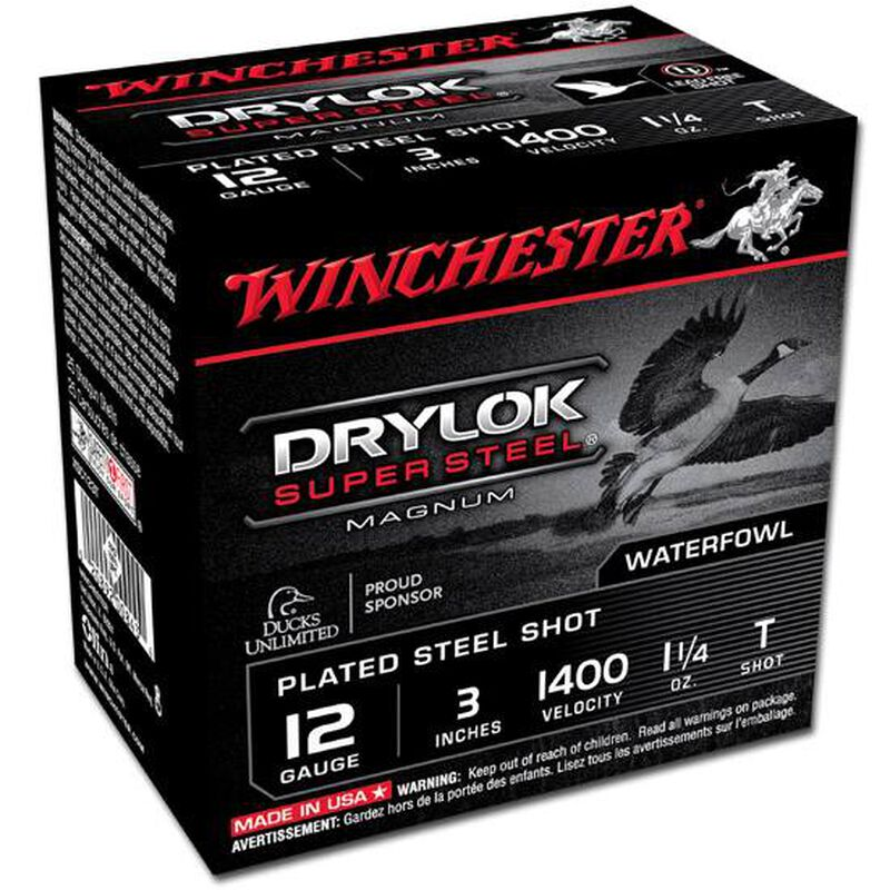 "Winchester Drylok Super Steel 12 Gauge Ammunition 25 Round Box 3"" T Plated Steel Shot 1-1/4 oz 1400 fps"