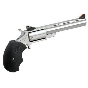 "NAA Mini-Master Revolver .22 Magnum 4"" Barrel 5 Rounds Over-Sized Rubber Grips Stainless Steel Finish"