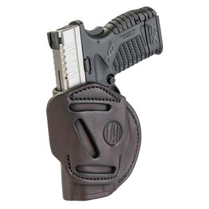 1791 Gunleather 4 Way WH-4 Multi-Fit IWB/OWB Concealment Holster for Sub Compact/Compact Semi Auto Models Right Hand Draw Leather Signature Brown