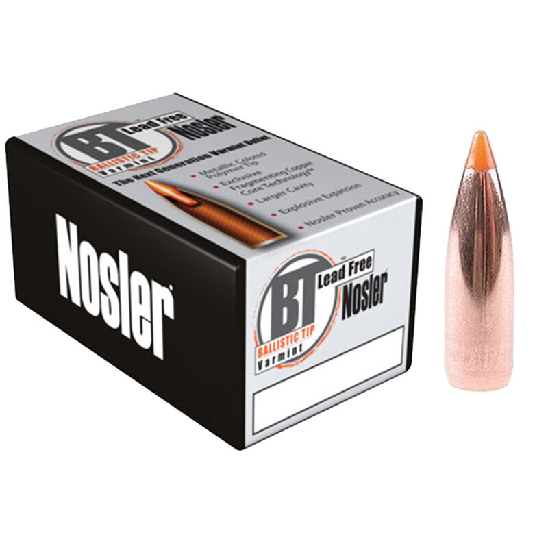"Nosler .22 Caliber (.224"" Diameter) 35 Grain Spitzer Metallic Orange Tip Ballistic Tip Lead Free Bullet 100 Count 45150"