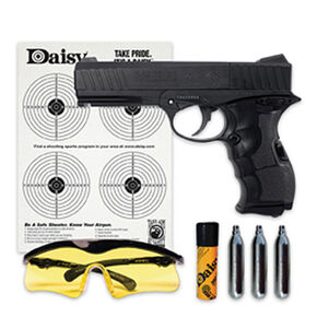 Daisy 408 PowerLine Air Pistol Kit CO2 Powered Semi Auto Pistol BB's/.177 Caliber 8 Shot Complete Kit Targets/Glasses/BB's/CO2 Cylinders Matte Black Finish