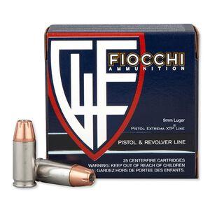 Fiocchi Extrema XTP Line 9mm Luger Ammunition 25 Rounds 124 Grain XTP JHP Projectile 1100 fps