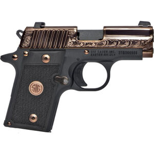"SIG Sauer P238 Rose Gold Semi Auto Pistol .380 ACP 2.7"" Barrel 6 Rounds SIGLITE Night Sites G10 Grips Polished and Engraved Slide Black Frame Two Tone Finish"