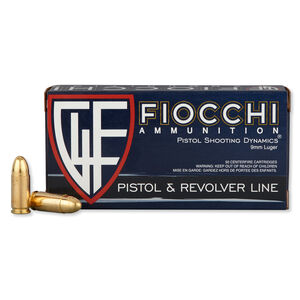 FIOCCHI 9mm Luger Ammunition 50 Rounds FMJ 124 Grains 9APB