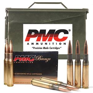 Ammo .50 BMG PMC Bronze 660 Grain Full Metal Jacket Boat Tail Bullet 3080 fps 100 Rounds 50AMB2