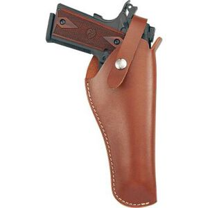 """Hunter Company VersaFit 5.5"""" to 6.75"""" Barrel Semi Auto 22 Caliber Pistols Belt Holster Right Hand Retention Strap Hand Crafted Top Grain Leather Brown"""