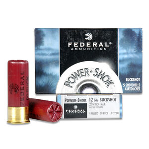 "Federal Power-Shok 12 Gauge Ammunition Five Rounds 2.75"" Nine Pellets #00 1,325 Feet Per Second"