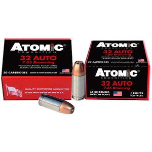 Atomic Ammunition .32 Auto Ammunition 60 Grain Bonded Hollow Point 1250fps
