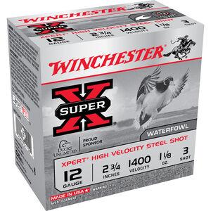 """Winchester Super X Expert 12 Gauge Ammunition 25 Rounds 2.75"""" #3 Steel 1.125 Ounce WEX12H3"""