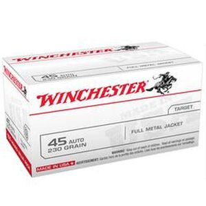 Winchester USA .45 ACP Ammunition 100 Round Value Pack 230 Grain FMJ 835 fps