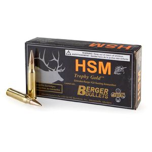 Ammo .30-06 Springfield HSM Trophy Gold 168 Grain Berger Hunting VLD HPBT Bullet 2808 fps 20 Rounds BER3006168VL