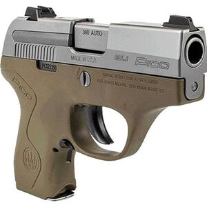 """Beretta Pico .380 ACP Semi Auto Pistol 2.7"""" Barrel 6 Rounds Two Tone Polymer Frame Inox/FDE Finish"""
