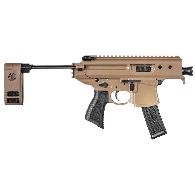 """SIG Sauer MPX Copperhead 9mm Luger Semi Auto Pistol 3.5"""" Barrel 20 Rounds SIG Single Stage Trigger SIG PCB Pistol Stabilizing Brace Cerakote Finish Coyote Brown"""
