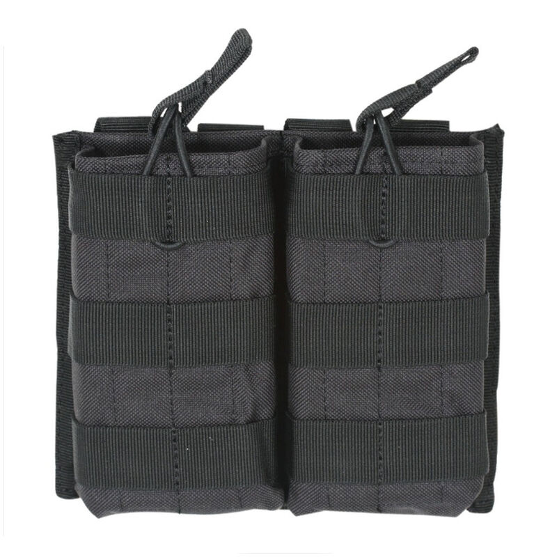 Voodoo Tactical AR-15/M4/M16 Open Top Double Magazine Pouch Bungee Retention System PALS Webbing Compatible Nylon Black
