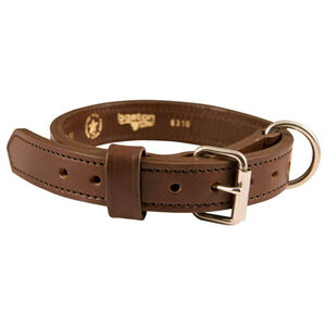 Boston Leather 1.25 inch Leather Agitation Dog Collar 20 inch Brown