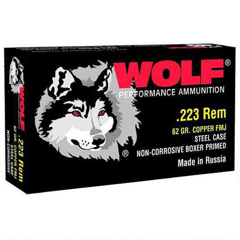 Wolf Performance .223 Remington Ammunition 62 Grain Bi-Metal FMJ Steel Cased 3025 fps