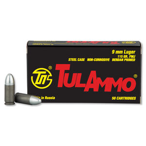 TulAmmo 9mm Luger Ammunition 50 Rounds FMJ 115 Grains TA919150