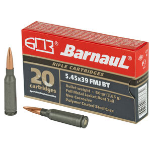 Barnaul Rifle Cartridges 5.45x39 Ammunition 20 Rounds 60 Grain Full Metal Jacket Polycoated Steel Cased Cartridges
