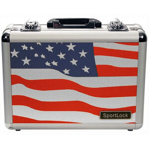 Sportlock Alumalock Double Handgun Case Small Aluminum Interlocking Foam Crate Foam US Flag 00430