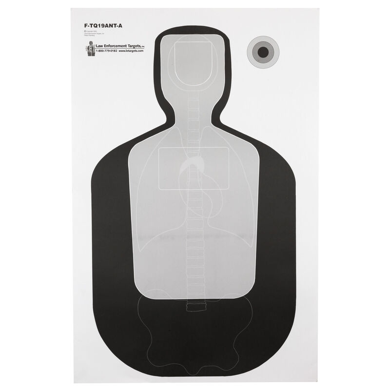 "Action Target TQ-19 Qualification Target with Vital Anatomy 23""x35"" Paper Target Black and Gray 100 Pack"