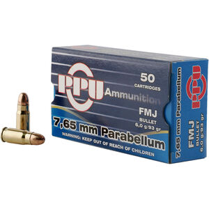 Prvi Partizan PPU 7.65 Parabellum Ammunition 50 Rounds 93 Grain FMJ 1279fps