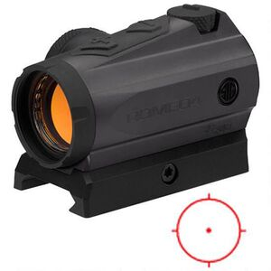SIG Sauer Romeo4M Red Dot Optic Circle Dot 65 MOA Circle/2 MOA Dot Reticle Low Mount .50 MOA Adjustment Unlimited Eye Relief 10 Daytime/2 Night Vision Settings CR2032 Battery Graphite/Black