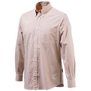 Beretta Men's Classic Drip Dry Shirt Long Sleeve Large Beige/Red Checkered