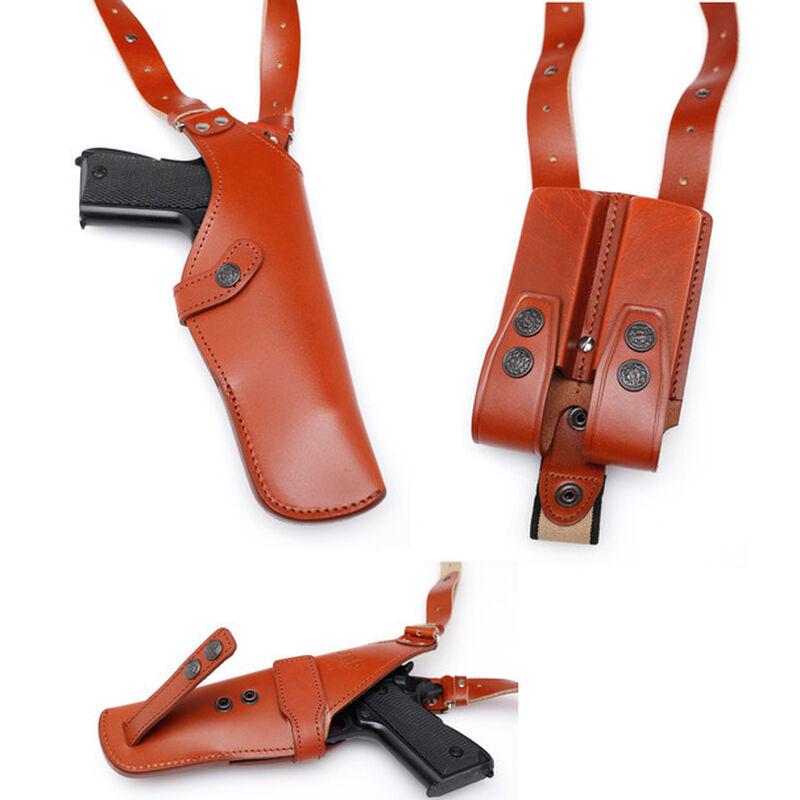JBP Leather Univeral Shoulder Rig Holster Double  Mag Case Brown