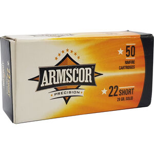 Armscor Precision .22 Short Rimfire Ammunition 50 Rounds 29 Grain CP LRN 1094fps