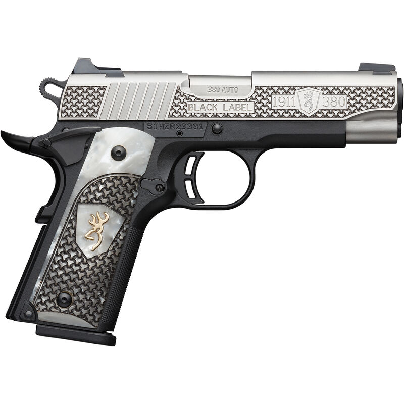 """Browning 1911-380 Compact Black Label High Grade .380 ACP Semi Auto Pistol 3.625"""" Barrel 8 Rounds Engraved Slide and White Pearl Grips Polymer Frame Two Tone Stainless/Black Finish"""