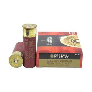 "Federal Vital-Shok 12 Gauge Ammunition 5 Rounds 3"" 000 Copper Plated Buck Shot P158000"