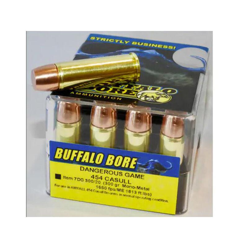 Buffalo Bore Dangerous Game .454 Casull Ammunition 20 Rounds Mono-Metal Lead Free 300 Grain 7DG 300/20