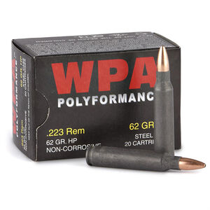 Wolf Polyformance .223 Remington Ammunition 20 Rounds JHP 62 Grains 22362HP