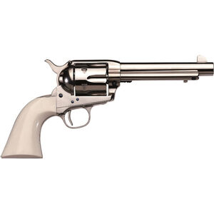 """Taylor's & Co Cattleman .45 LC Single Action Revolver 5.5"""" Barrel 6 Rounds Synthetic Ivory Grips Nickel Finish"""