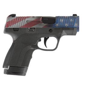"Honor Defense Honor Guard Sub-Compact Semi Auto Pistol 9mm Luger 3.2"" Barrel 7/8 Round Magazine Snag Free Sights US Flag Slide/Matte Black Finish"