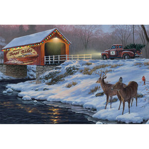 "Rivers Edge Products Boat Rides LED Art Canvas 24""x16""x1"""