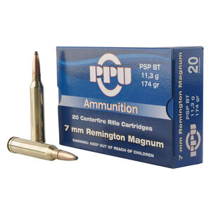 Prvi Partizan PPU 7mm Remington Magnum Ammunition 20 Rounds 174 Grain Pointed Soft Point 2964fps