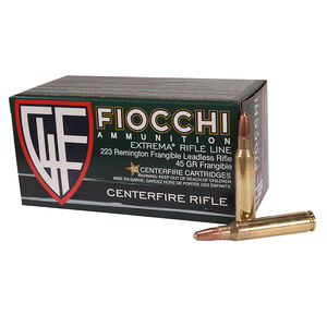 Fiocchi Extrema .223 Remington Ammunition 50 Rounds 45 Grain Frangible Lead Free Projectile 3300fps