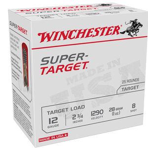 "Winchester Super-Target 12 Gauge Ammunition 25 Rounds 2-3/4"" #8 Lead 1 Ounce 1290 fps"