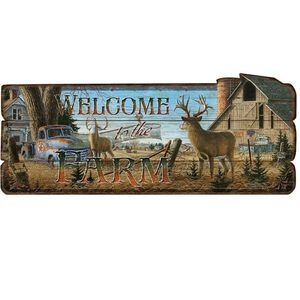 "Rivers Edge Welcome To The Farm Decorative Sign Wood Fiber 34""x14"" 1959"